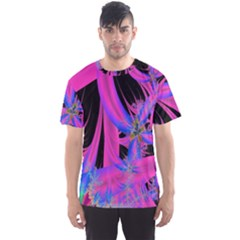 Fractal In Bright Pink And Blue Men s Sport Mesh Tee by Simbadda