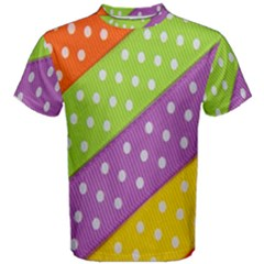 Colorful Easter Ribbon Background Men s Cotton Tee by Simbadda