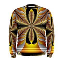 Fractal Yellow Butterfly In 3d Glass Frame Men s Sweatshirt by Simbadda
