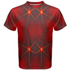 Impressive Red Fractal Men s Cotton Tee by Simbadda