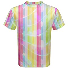 Colorful Abstract Stripes Circles And Waves Wallpaper Background Men s Cotton Tee by Simbadda