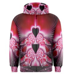 Illuminated Red Hear Red Heart Background With Light Effects Men s Zipper Hoodie by Simbadda