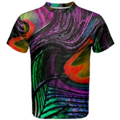 Peacock Feather Rainbow Men s Cotton Tee by Simbadda