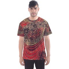 Red Gold Black Background Men s Sport Mesh Tee by Simbadda