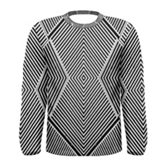 Black And White Line Abstract Men s Long Sleeve Tee by Simbadda