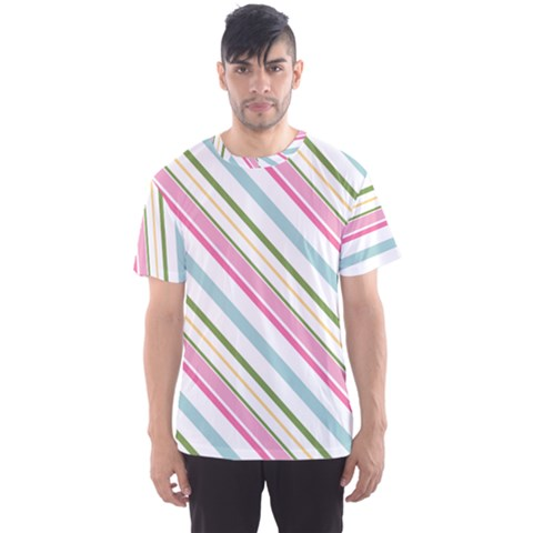 Diagonal Stripes Color Rainbow Pink Green Red Blue Men s Sport Mesh Tee by Mariart
