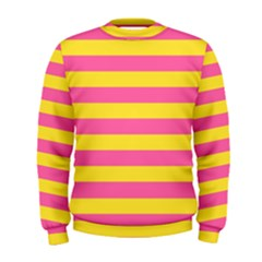 Horizontal Pink Yellow Line Men s Sweatshirt by Mariart