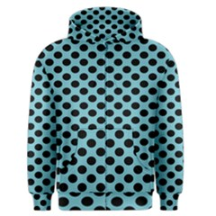 Polka Dot Blue Black Men s Zipper Hoodie by Mariart