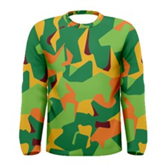 Initial Camouflage Green Orange Yellow Men s Long Sleeve Tee by Mariart