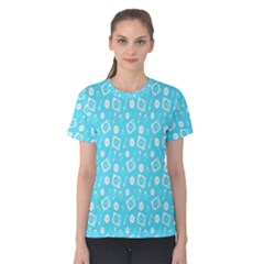 Record Blue Dj Music Note Club Women s Cotton Tee by Mariart