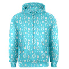 Record Blue Dj Music Note Club Men s Zipper Hoodie by Mariart