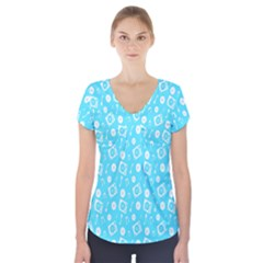 Record Blue Dj Music Note Club Short Sleeve Front Detail Top by Mariart