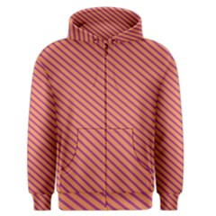 Striped Purple Orange Men s Zipper Hoodie by Mariart