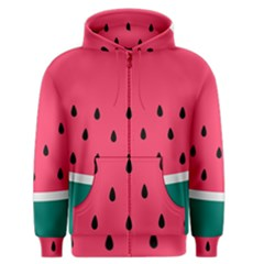 Watermelon Red Green White Black Fruit Men s Zipper Hoodie by Mariart