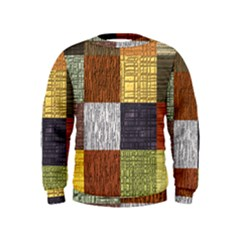 Blocky Filters Yellow Brown Purple Red Grey Color Rainbow Kids  Sweatshirt by Mariart