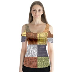 Blocky Filters Yellow Brown Purple Red Grey Color Rainbow Butterfly Sleeve Cutout Tee  by Mariart
