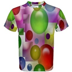 Colored Bubbles Squares Background Men s Cotton Tee by Nexatart