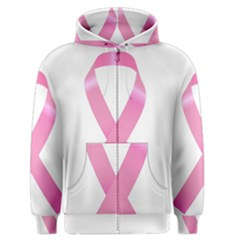Breast Cancer Ribbon Pink Men s Zipper Hoodie by Mariart