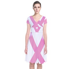 Breast Cancer Ribbon Pink Short Sleeve Front Wrap Dress by Mariart