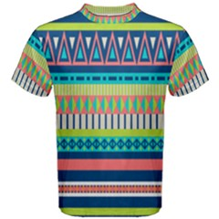 Aztec Triangle Chevron Wave Plaid Circle Color Rainbow Men s Cotton Tee by Mariart