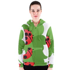 Insect Flower Floral Animals Green Red Women s Zipper Hoodie by Mariart