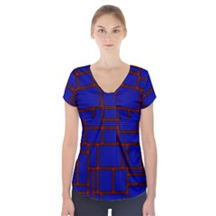 Line Plaid Red Blue Short Sleeve Front Detail Top by Mariart