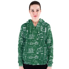 Scientific Formulas Board Green Women s Zipper Hoodie by Mariart
