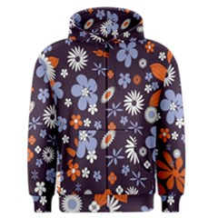 Bright Colorful Busy Large Retro Floral Flowers Pattern Wallpaper Background Men s Zipper Hoodie by Nexatart