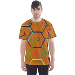 Color Bee Hive Color Bee Hive Pattern Men s Sport Mesh Tee by Nexatart