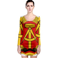 National Emblem Of East Germany  Long Sleeve Bodycon Dress by abbeyz71