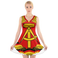 National Emblem Of East Germany  V Neck Sleeveless Skater Dress by abbeyz71