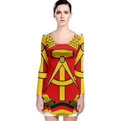 National Emblem Of East Germany  Long Sleeve Velvet Bodycon Dress by abbeyz71
