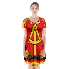 National Emblem Of East Germany  Short Sleeve V-neck Flare Dress by abbeyz71