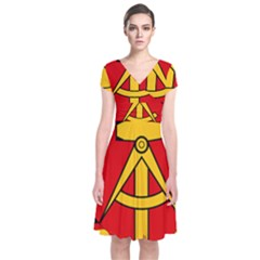 National Emblem Of East Germany  Short Sleeve Front Wrap Dress by abbeyz71