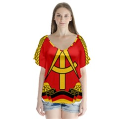 National Emblem Of East Germany  Flutter Sleeve Top by abbeyz71