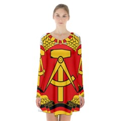 National Emblem Of East Germany  Long Sleeve Velvet V Neck Dress by abbeyz71