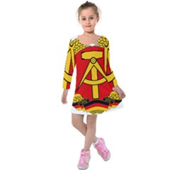 National Emblem Of East Germany  Kids  Long Sleeve Velvet Dress by abbeyz71