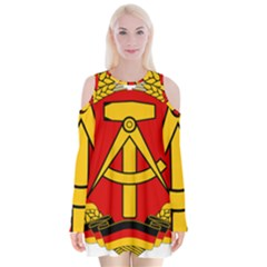 National Emblem Of East Germany  Velvet Long Sleeve Shoulder Cutout Dress by abbeyz71
