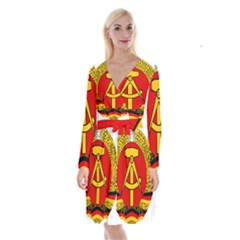 National Emblem Of East Germany  Long Sleeve Velvet Front Wrap Dress by abbeyz71