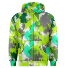 Abstract Watercolor Background Wallpaper Of Watercolor Splashes Green Hues Men s Zipper Hoodie by Nexatart