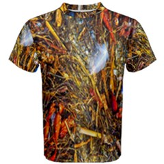 Abstract In Orange Sealife Background Abstract Of Ocean Beach Seaweed And Sand With A White Feather Men s Cotton Tee by Nexatart