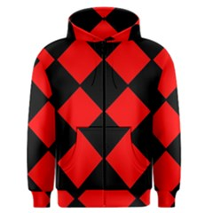 Red Black Square Pattern Men s Zipper Hoodie by Nexatart