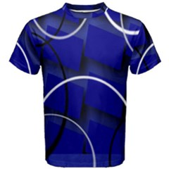 Blue Abstract Pattern Rings Abstract Men s Cotton Tee by Nexatart