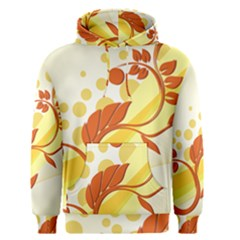 Floral Flower Gold Leaf Orange Circle Men s Pullover Hoodie by Jojostore