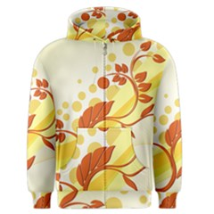 Floral Flower Gold Leaf Orange Circle Men s Zipper Hoodie by Jojostore