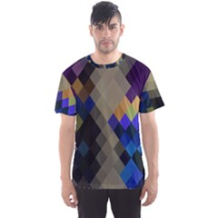 Background Of Blue Gold Brown Tan Purple Diamonds Men s Sport Mesh Tee by Nexatart