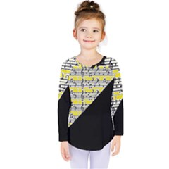 Note Abstract Paintwork Kids  Long Sleeve Tee by Nexatart