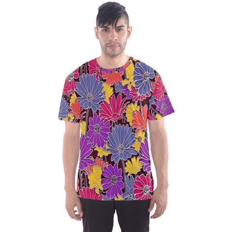 Colorful Floral Pattern Background Men s Sport Mesh Tee by Nexatart