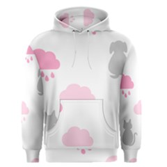 Raining Cats Dogs White Pink Cloud Rain Men s Pullover Hoodie by Mariart