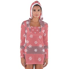Seed Life Seamless Remix Flower Floral Red White Women s Long Sleeve Hooded T Shirt by Mariart